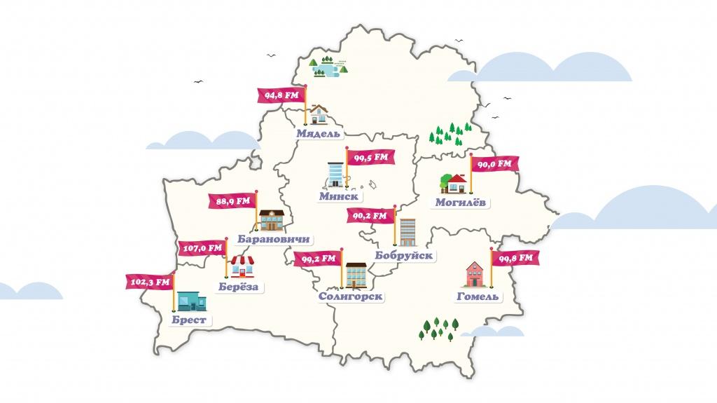 Карта городов вещания Unistar